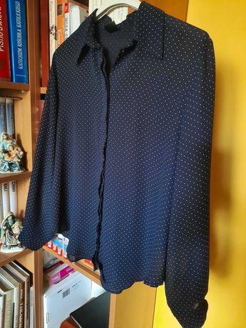 Granatowa koszula damska w kropki