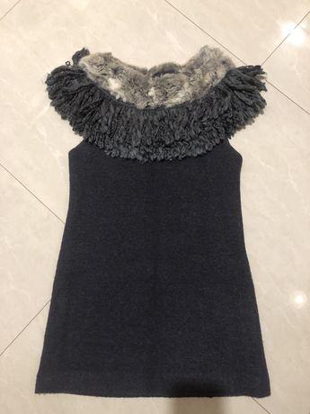 Теплое нарядное платье с натуральным мехом chanel