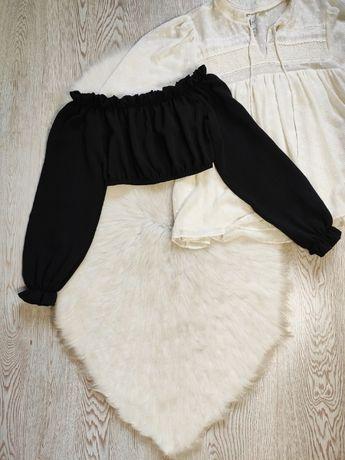 черный кроп топ короткая блуза с рюшами открытые плечи длинный пышный