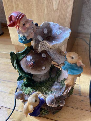 Мини водопад с гномом и зайцами