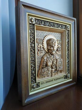 Икона св. Николай Чудотворец деревянная, резная