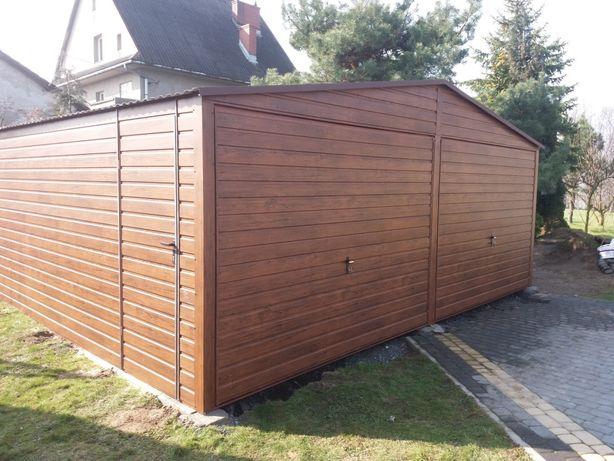 Garaż drewnopodobny orzech 6x5