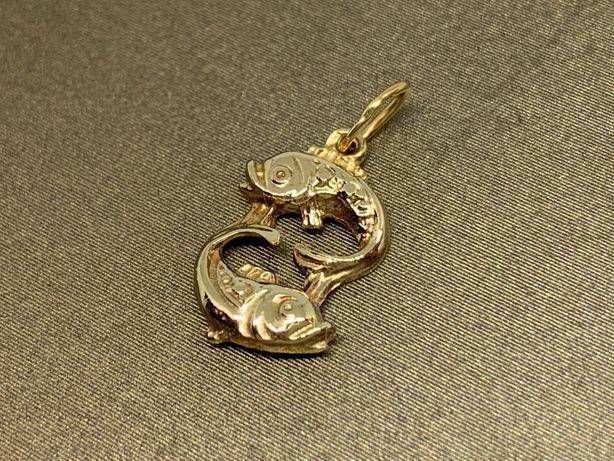 """Śliczna, złota zawieszka znak zodiaku """"ryby"""" p585"""