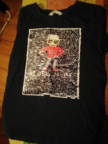 Koszulka z odwracanymi cekinami rozmiar 122/128 h&m + bluza Reserved