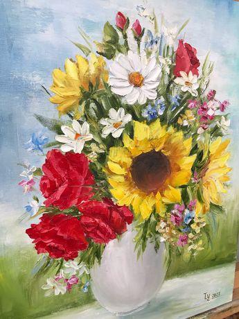 Картина маслом, натюрморт квіти, подарок к 8 марта, цветы, живопись