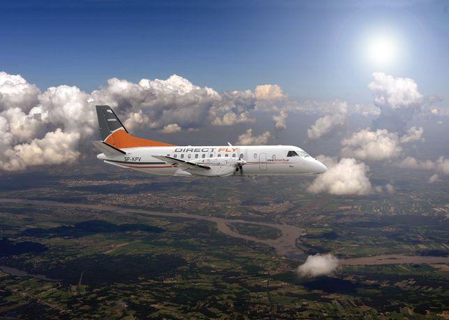Pocztówka DIRECT FLY Polskie linie lotnicze - samolot Saab 340