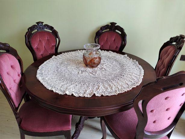 Drewniany okrągły stół z 5 krzesłami, antyk