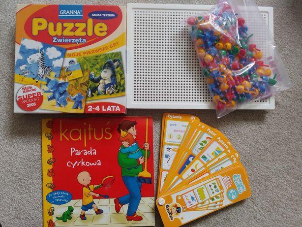 Puzzle granna; mozaika; książeczka Kajtuś; zagadki czuczu