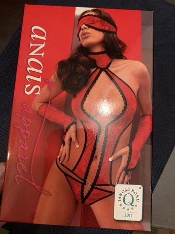 Боди женское прозрачный красный с перчатками и маской Anais Ashley