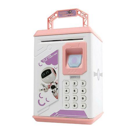 Детская сейф копилка робот с отпечатком пальца и кодовым замком