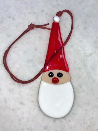 Декоративная подвеска Дед Мороз из стекла, ручная работа