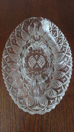 Patera, Gondola, stare szkło prasowane PRL - patera 31,5 cm