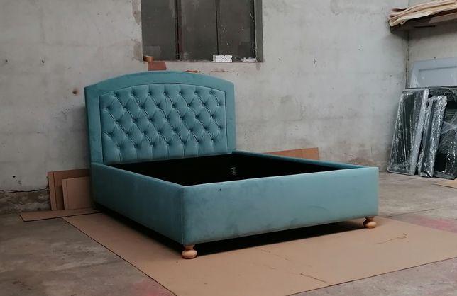Łóżko tapicerowane 140/160/180 x 200 pikowane nóżki pojemnik i stelaż