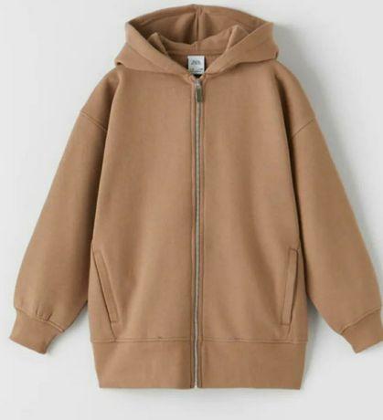 Новая!! Худи кофта куртка для девочки бежевого цвета ZARA зара