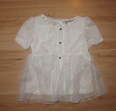 NEXT biała koronkowa bluzka dziewczęca bluzeczka 98 cm 2-3 lata
