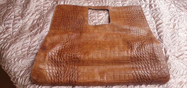 Duża torba typu shopper naturalna skóra