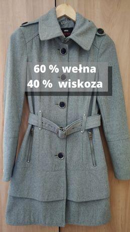 Płaszcz wełniany 60 % wełna 40% wiskoza szary 34 36 XS S Tk maxx