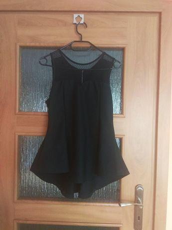 Bluzka z baskinką, asymetryczna, czarna, koronka, elegancka r. S-M