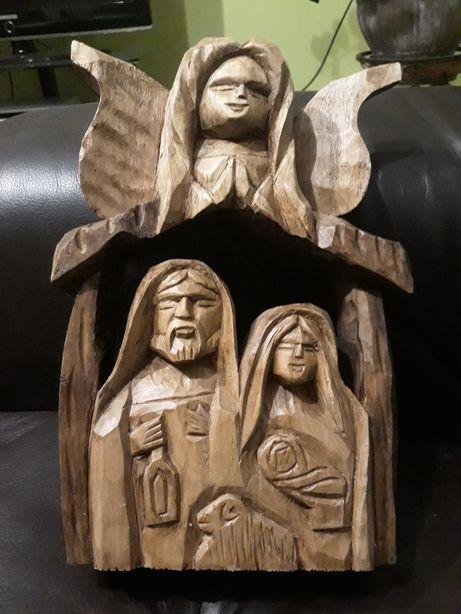 Swieta Rodzina z aniolem, drewno szopka.