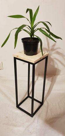 Kwietnik LOFT metalowy z litym drewnem 60 cm