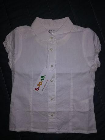Biała bluzeczka galowa dla dziewczynki z metką
