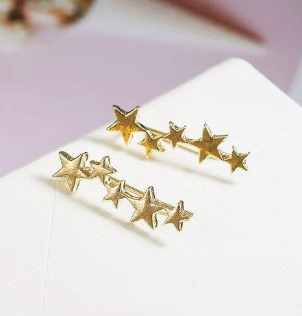 Kolczyki nausznice gwiazdki kolor złoty