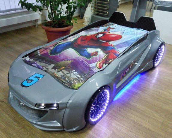 Кровать машина пластик Jaguar серая металлик подсветка + кож. салон