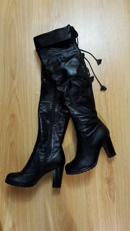 сапоги кожаные (ботфорды, чоботи) 36 размер