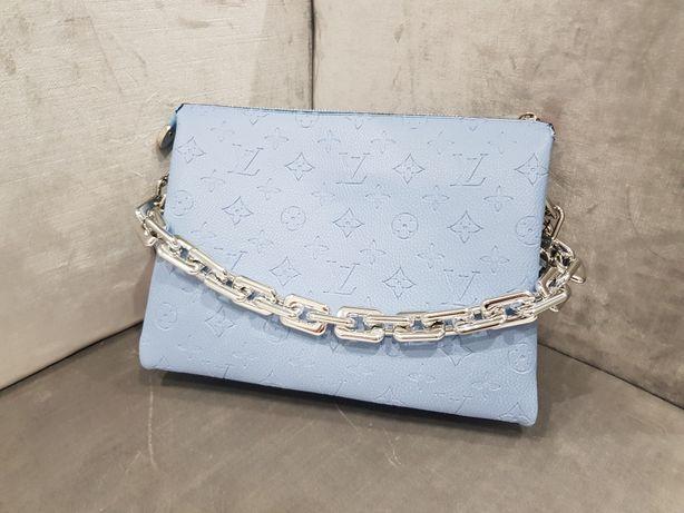 Piękna torebka kopertówka Louis vuitton błękitncbłękitna coussin PM