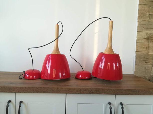 Nowoczesne, czerwone, wiszące lampy