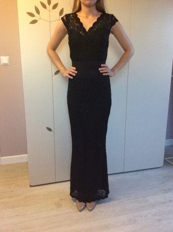 Orsay koronki czarna długa sukienka 34/36 połyskująca obcisła