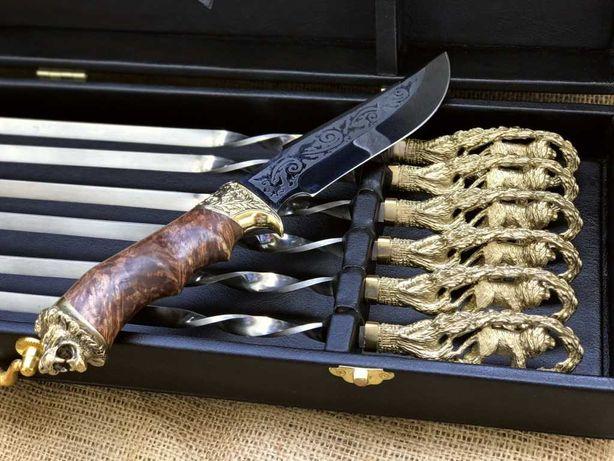 """Преміум подарунковий набір шампурів """" Лев """". З ножем в кейсі."""