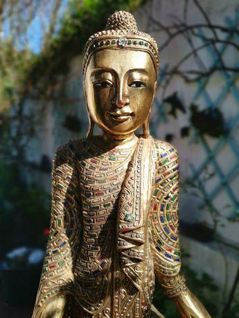 RARA, ANTIGA estátua figura Buda Budha  madeira talha dourada. Grande!