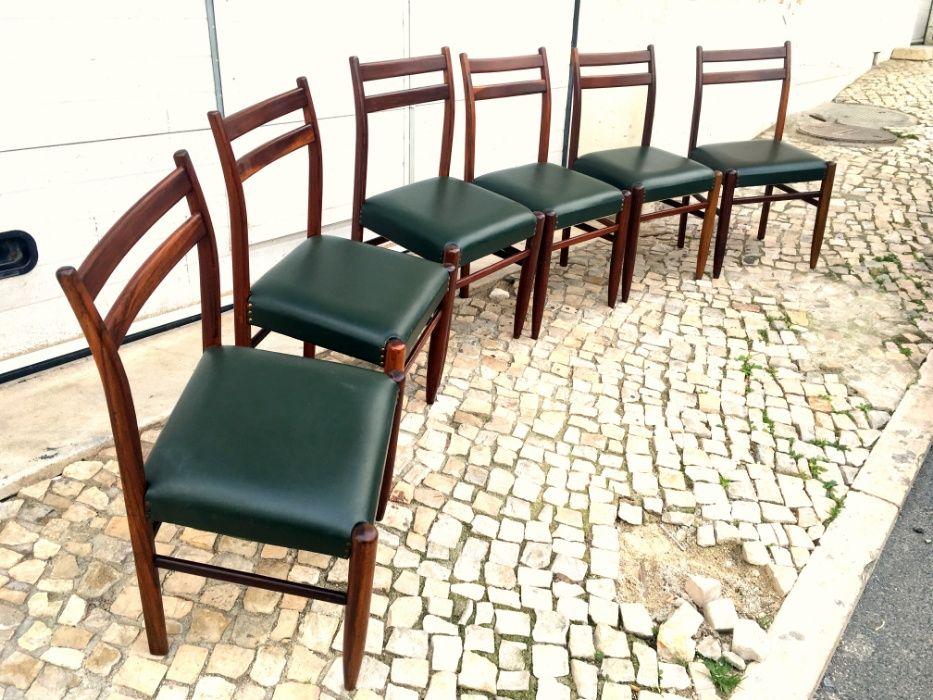6 Cadeiras olaio vintage estofo verde Parque das Nações - imagem 1