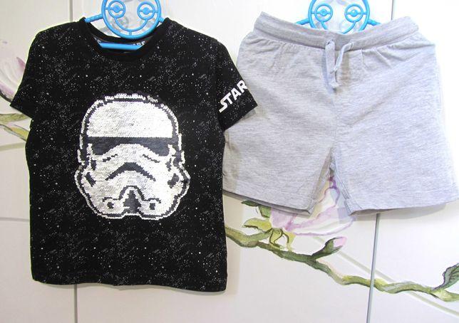 Набор 3-4 года : футболка перевертыши Star Wars трикотажные хб шорты
