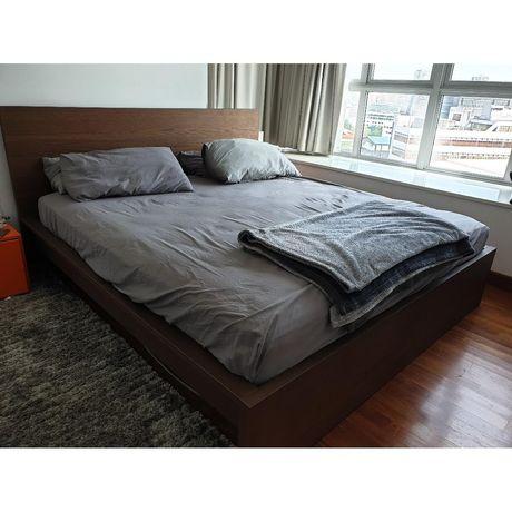 Ikea Malm nowoczesne łóżko z materacem sprężynowym 160x200cm TRANSPORT