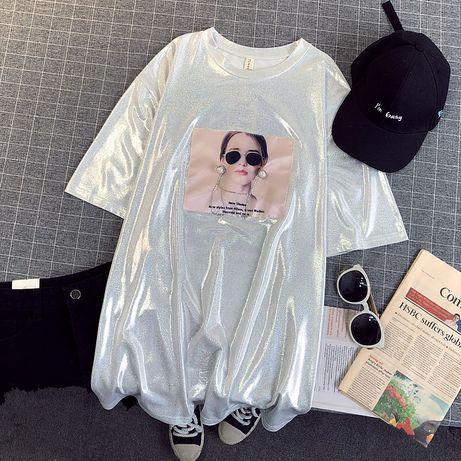 Модная блестящая футболка голограмма