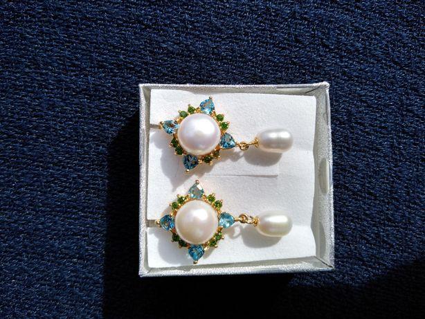 Srebrne kolczyki z naturalna perla i topazem!!!