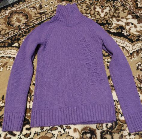 Свитер женский кофта сиреневый с хомутом теплый натуральная вязка-нитк