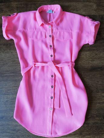 Sukienka neonowa różowa.