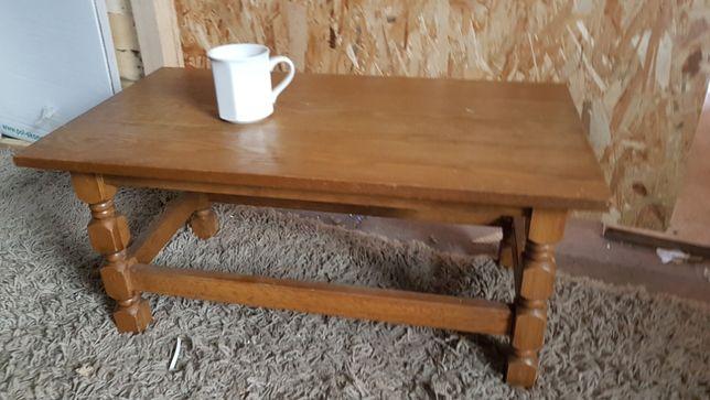 Mały niski stoliczek kawowy drewniany dębowy stylowy stolik retro