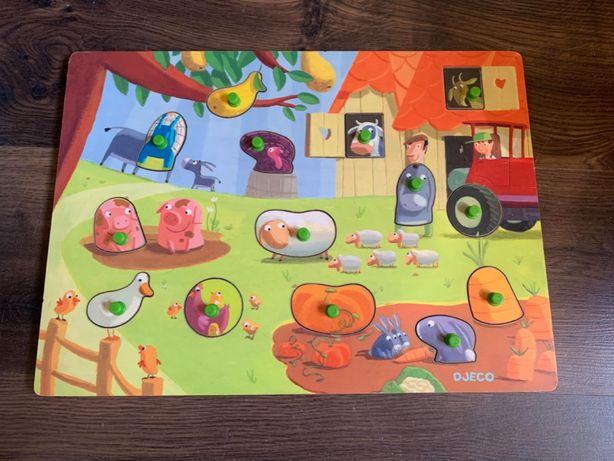 Djeco układanka puzzle gospodarstwo drewniana (Montessori)
