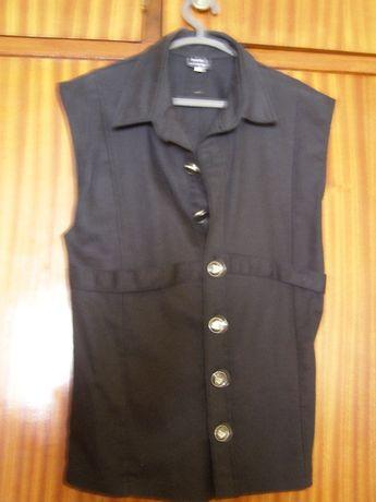 Camisa sem mangas da Mode Wichtig cor preta