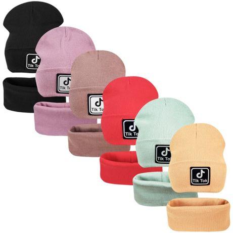 Двойной комплект шапка с хомутом Тик Ток ог.50-60см