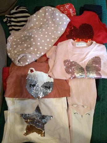 Paka H&M dziewczynki 98 , spodnie, getry, bluzeczka , sweterek, bluza