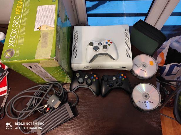 Mega zestaw Xbox 360. 2 pady , pełne okablowanie , 60 gier