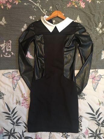 Платье вставки кожзам