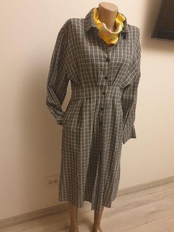 Платье своьодное весеннее платье рубашка в клетку серое