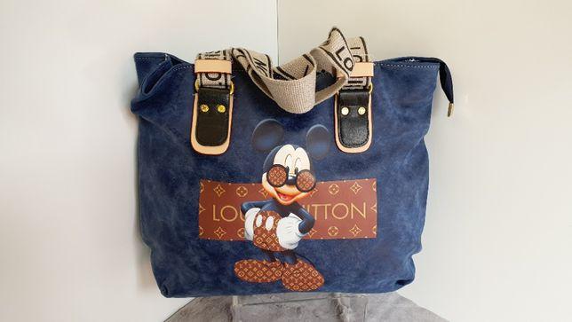 Torebka LV Louis Vuitton Myszka miki Mickey Mouse Shopperka granatowa