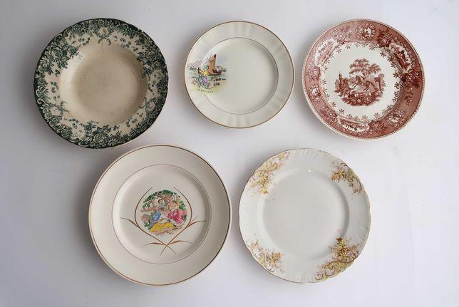 Lote com 5 pratos em faiança antiga Portuguesa (ref. 5)